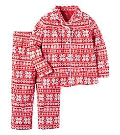 Carter's® Girls' 2-Piece Fair Isle Coatfront Pajama Set