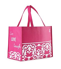 Charge Against Breast Cancer Donation Live, Laugh, Love Reusable Tote Bag