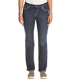 Earl Jean® Petites' Scroll Flap Straight Leg Jeans