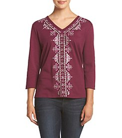 Alfred Dunner® Petites' Veneto Valley Scroll Knit Top