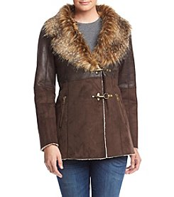 Jessica Simpson Toggle Coat With Faux Fur Shawl Collar