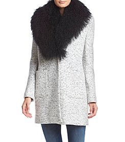 Calvin Klein Marbled Boucle Coat With Oversized Faux Fur Collar