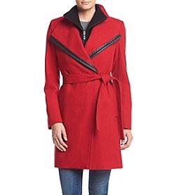 Calvin Klein Belted Asymmetrical Wrap Coat