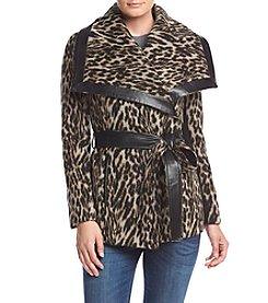 BCBG™ Short Cheetah Print Belted Wrap Coat