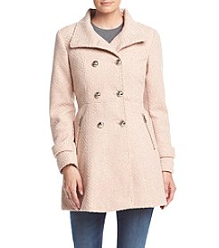 Jessica Simpson Double Breated Braided Wool Fit And Flare Coat