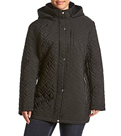 Calvin Klein Plus Size Hooded Quilt Coat With Side Tabs
