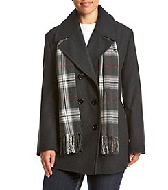 Forecaster Plus Size Double Breasted Notch Collar Peacoat With Scarf