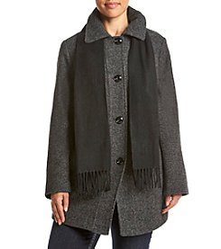 London Fog® Plus Size Diagonal Seaming Coat