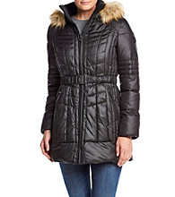 GUESS Multi Quilted Seat Belt Buckle Coat With Faux Fur Hood