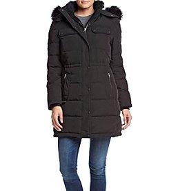 Calvin Klein Contrast Zip Anorak Coat With Faux Fur Trim Hood