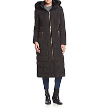 Calvin Klein Box Quilted Maxi Coat With Faux Fur Trim Hood