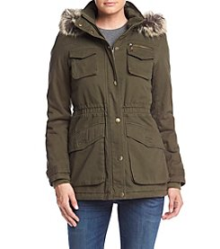 BCBG™ Patch Pocket Anorak Coat With Faux Fur Trim Hood