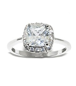 Athra Silver-Plated Cushion Cut Cubic Ziconia Ring