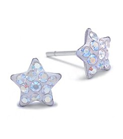 Athra Sterling Silver Crystal Star Stud Earrings