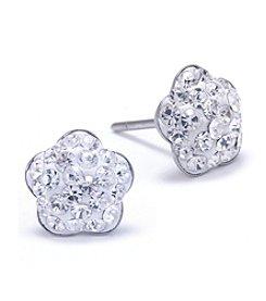 Athra Sterling Silver Crystal Flower Stud Earrings