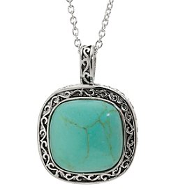 Ahtra Sterling Silver Framed Square Turquoise Pendant