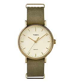 Timex® Weekender Fairfield 37 Olive Leather Slip-Thru Strap Watch