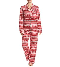 Intimate Essentials® Printed Notch Collar Pajama Set