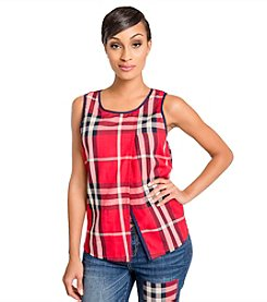 Poetic Justice Chanel Crossover Plaid Top