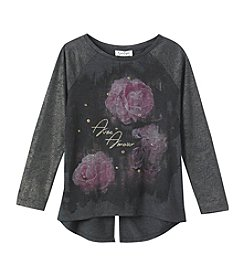 Jessica Simpson Girls' 7-16 Long Sleeve Flower Collage Tee