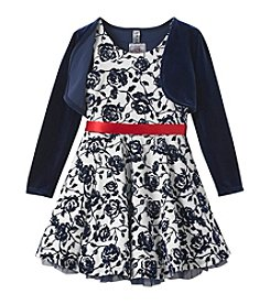 Beautees Girls' 4-6X Floral Dress with Shrug