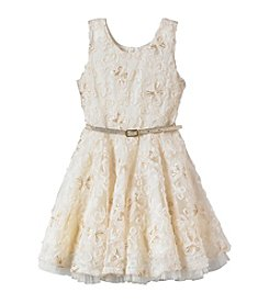 Beautees Girls' 4-6X Belted Sparkle Lace Dress