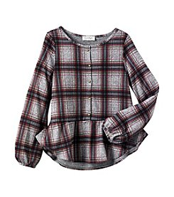Jessica Simpson Girls' 7-16 Pemberley Plaid Peplum Top