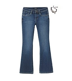 Squeeze® Girls' 7-14 Embellished Flare Jeans with Bracelet