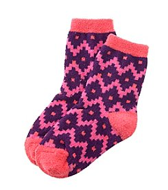 Miss Attitude Girls' Geo Chevron Slipper Socks