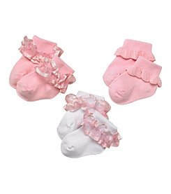 Little Miss Attitude Baby Girls' 3-Pack Ruffle Anklet Socks