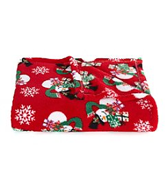 LivingQuarters Red Snowman Micro Cozy Throw