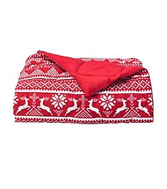 LivingQuarters Reindeer Down-Alternative Oversize Throw