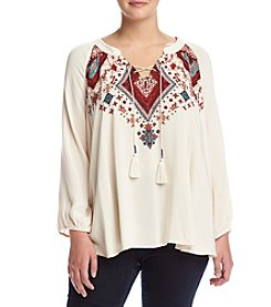 Living Doll® Plus Size Embroidered Lace-Up Top