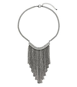 Relativity® Hematite Tone Crescent Necklace With Simulated Crystal And Fringe
