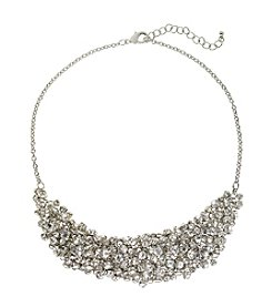 Relativity® Silvertone Frontal Necklace with Crystal Stones