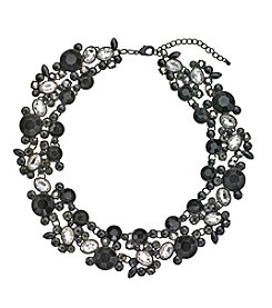 Relativity® Black Plated Necklace With Jet And Simulated Crystal Stones
