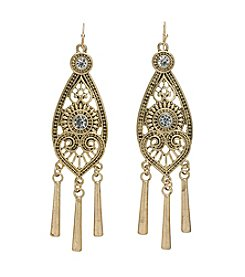 Relativity® Goldtone Statement Earrings with Crystal Stones and Stick Drops