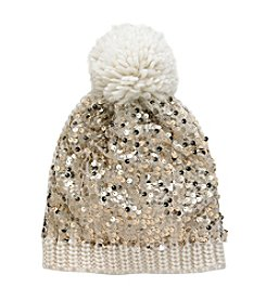 Betsey Johnson® Sequins Shine Pom Beanie