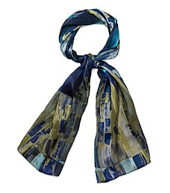 Basha Big Abstract Satin Oblong Scarf