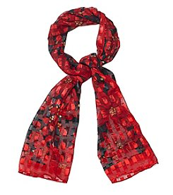 Basha Etching Poinsettia Oblong Scarf
