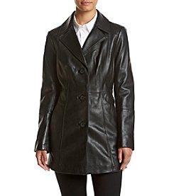 Anne Klein® Front Notch Leather Blazer Jacket