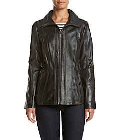 Anne Klein® Scuba Front Zip Leather Jacket