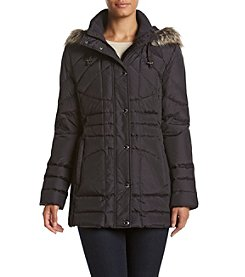 London Fog® Seamed Coat With Faux Fur Trim Hood