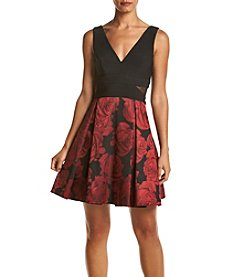 Xscape Floral V-Neck Dress