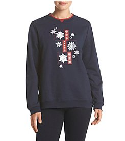 Breckenridge® Glittering Snowflakes Crew Neck Embellished Fleece