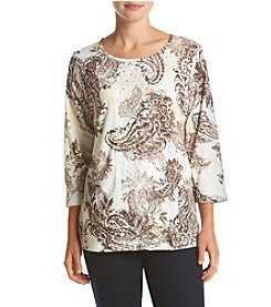 Alfred Dunner® Twilight Point 3/4 Sleeve Printed Knit Top