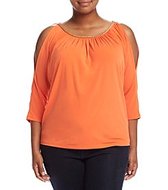 MICHAEL Michael Kors® Plus Size Chain Neck Cold Shoulder Top