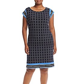 MICHAEL Michael Kors® Plus Size Grid Print Border Dress
