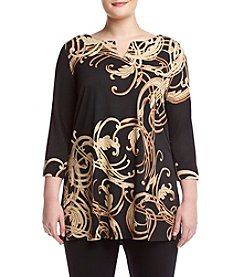 Rafaella® Plus Size Printed Split Neck Tunic