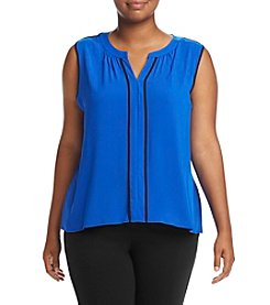 Calvin Klein Plus Size Piped Front Tank